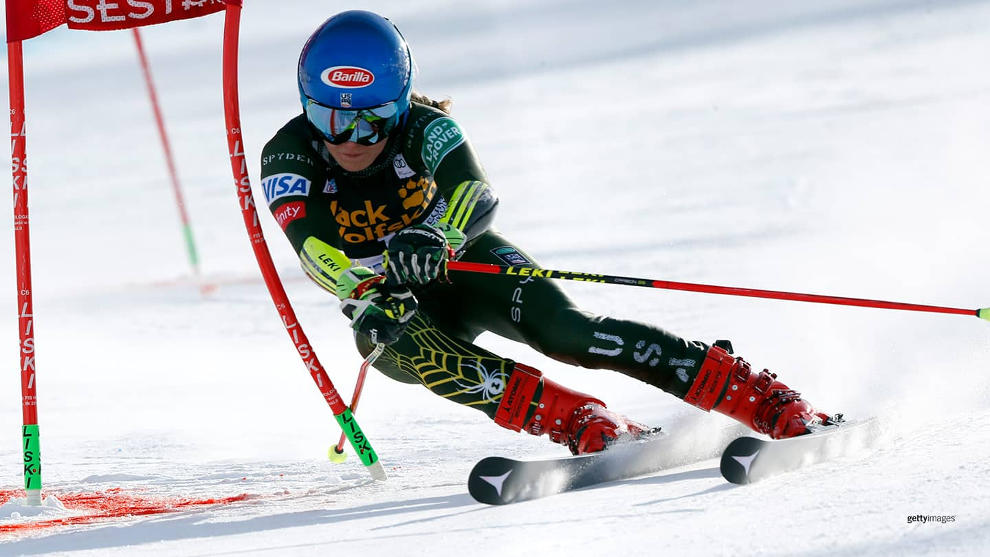 Mikaela Shiffrin in action during the Audi FIS Alpine Ski World Cup Women's Parallel Slalom on Jan. 19, 2020 in Sestriere Italy.