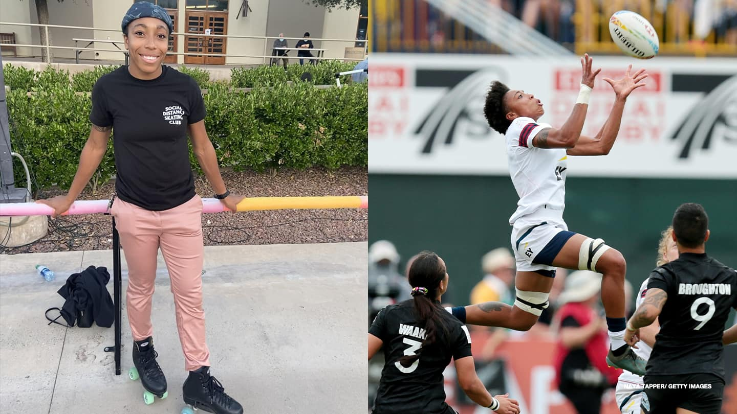 Left: Kris Thomas poses for a photo in her roller skates; Right: Kris Thomas jumps for the ball at the HSBC World Rugby Sevens Series on Dec. 7, 2019 in Dubai.