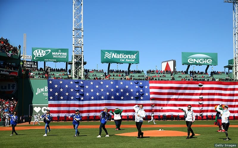 Paralympians throw out the first pitch at the Red Sox home opener.