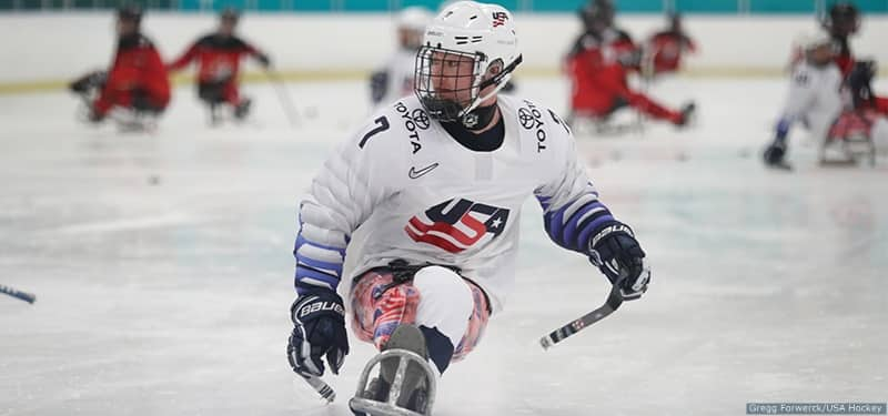 Defenseman Colin Gooley on the ice for the United States