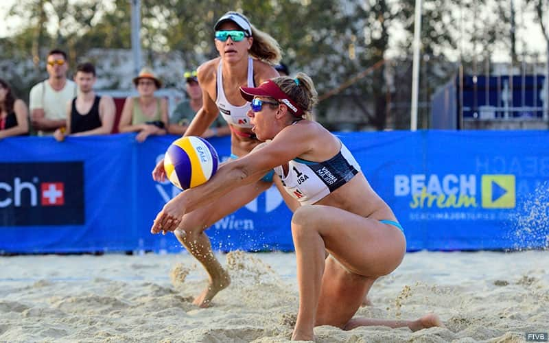 U.S. beach volleyball players April Ross and Alix Klineman
