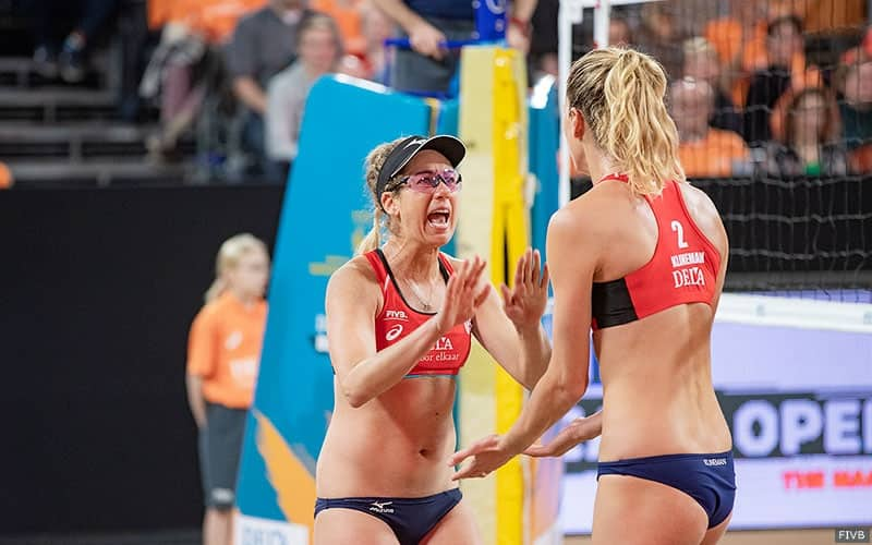 Beach volleyball players April Ross and Alix Klineman