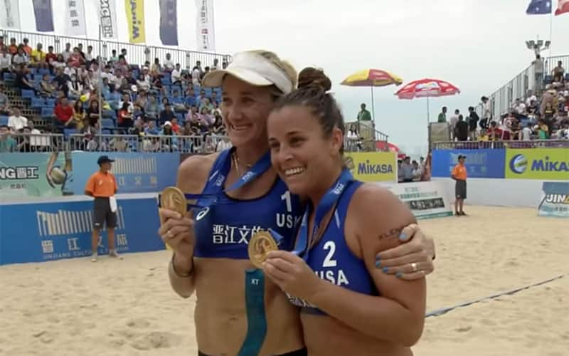 Kerri Walsh Jennings and Brooke Sweat with their medals