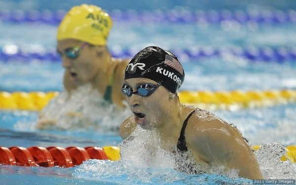 Kukors (R) of the United States and Stephanie Rice of Australia compete in the Women's 200m Individual Medley