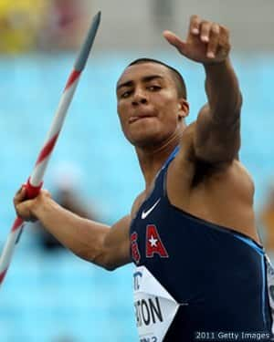 Eaton of United States competes in the javelin throw in the men's decathlon