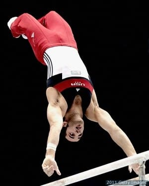 Leyva of the USA competes in the Men's Parallel bars final