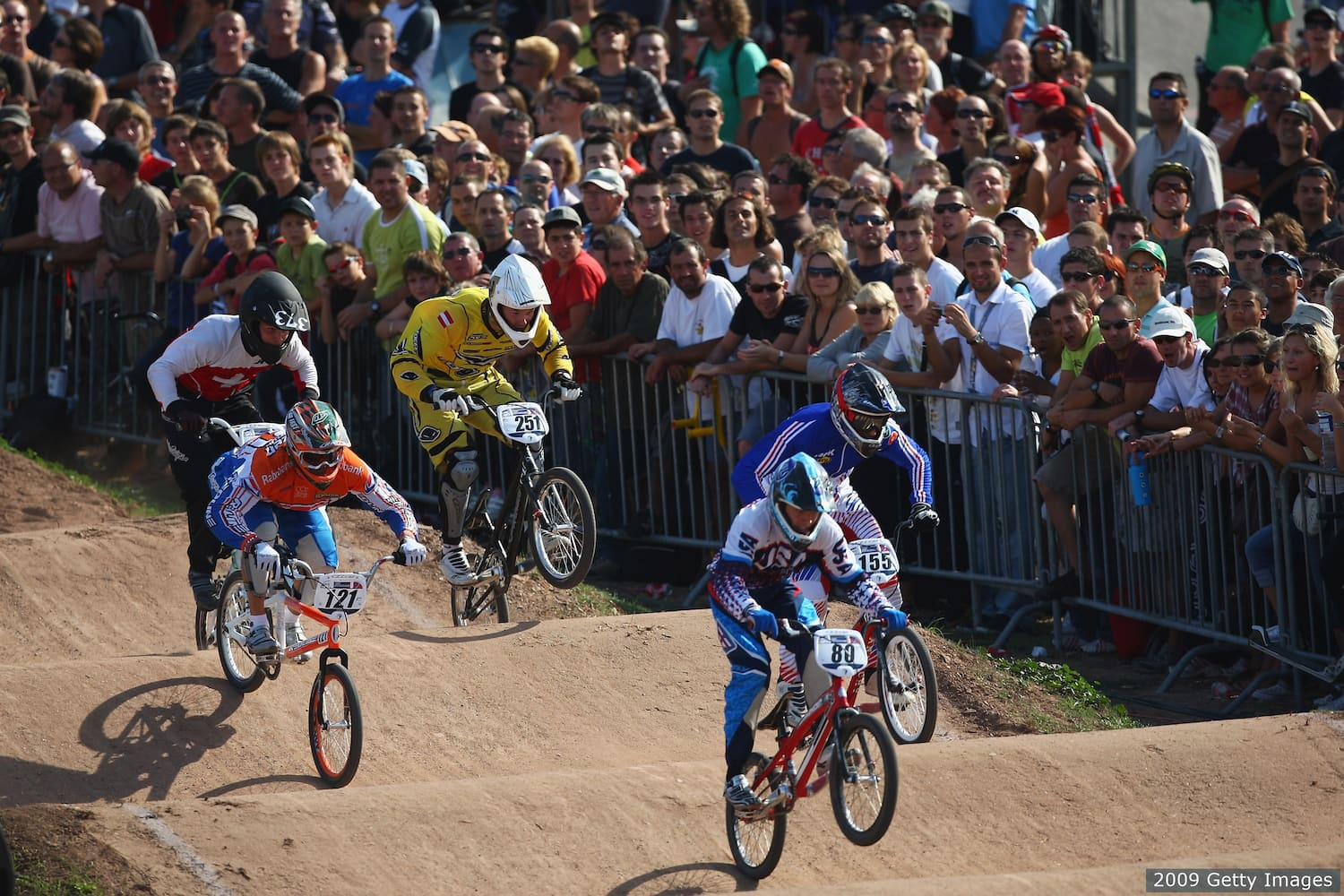 leads home in the men's elite quarterfinals during the UCI BMX Supercross World Cup at Roc d'Azur Frejus on October 10, 2009 in Frejus, France.