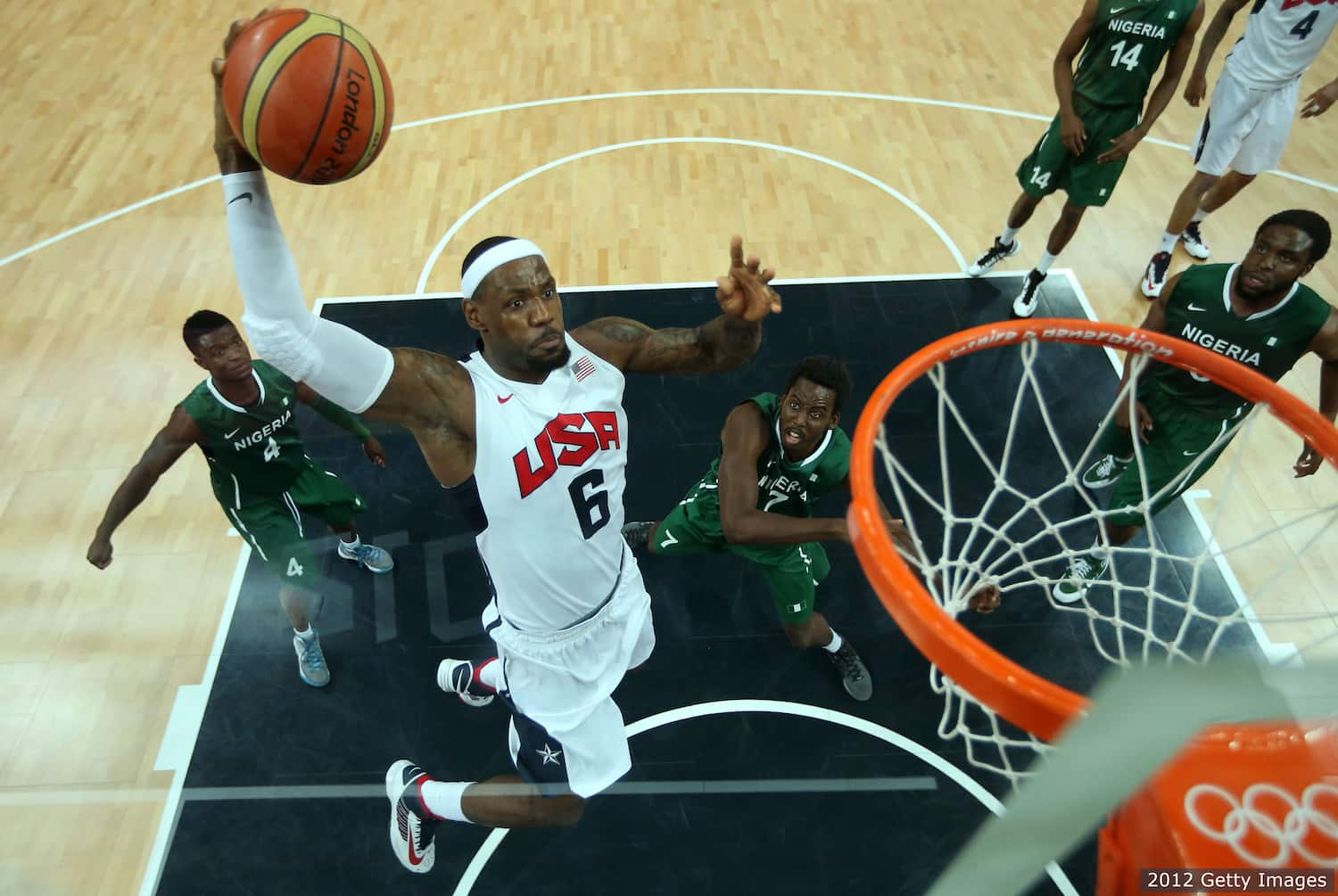 LeBron James competes in the Olympics
