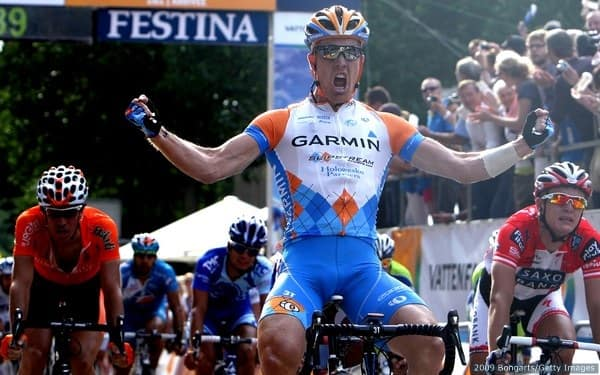 Farrar (C) of the Garmin-Slipstream team celebrates his victory at the Vattenfall Cyclassics