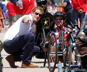 Retired British Army Lance Cpl. Jon Le Galloudec with Prince Harry before the cycling competition