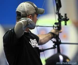 Retired Army Sgt. Lance Thorton during the archery competition at the 2013 Warrior Games presented by Deloitte