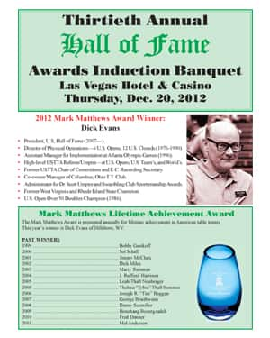 2012 Hall of Fame Banquet Program