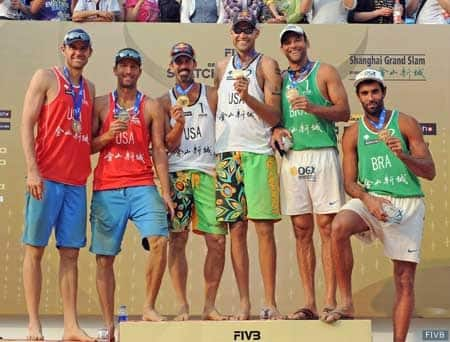 From left, Jake Gibb and Sean Rosenthal won the silver medal in 2012 in Beijing while Todd Rogers and Phil Dalhausser won gold