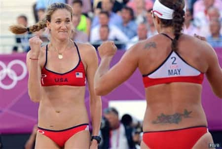 Kerri Walsh, left, and Misty May-Treanor celebrate during the 2012 Olympic Games
